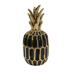 Decorative Ceramic Black and Gold Pineapple Statue