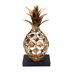Gold Metal Pineapple on Black Base Statue