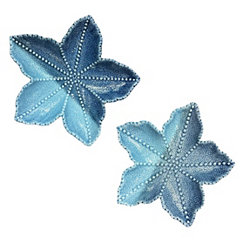 Decorative Ceramic Blue Mix Leaf Plates, Set of 2