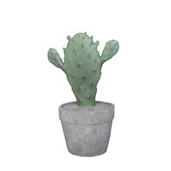 Decorative Green Resin Cactus in Gray Pot