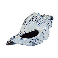 Decorative Ceramic Blue and White Shell, 10 in.