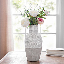 Natural Concrete Patterned Vase, 14 in.