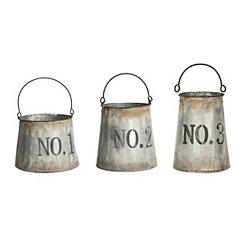 Galvanized Metal Number Buckets, Set of 3
