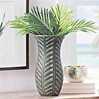 Embossed Green Palm Leaf Vase