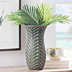 Embossed Green Palm Leaf Vase