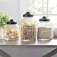 Glass Column Canisters with Bronze Lids, Set of 3