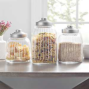 Glass Column Canisters with Silver Lids, Set of 3