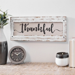 Linen Thankful Distressed Framed Wall Plaque