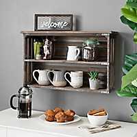 Rustic Wood Double Shelf Wall Rack