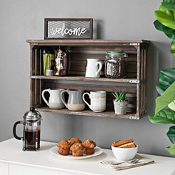 Rustic Wood Double Shelf Wall Rack