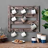 Rustic Wood Mug Rack with Hooks