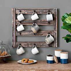 Rustic Wood Mug Rack with Hooks