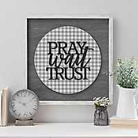 Pray Wait Trust Chicken Wire Wall Plaque