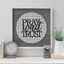 Pray Wait Trust Chicken Wire Wall Plaque