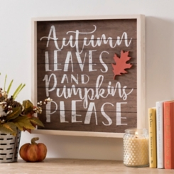 Autumn Leaves and Pumpkins Please Plaque
