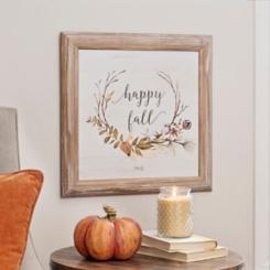 Happy Fall Wreath Framed Wood Art
