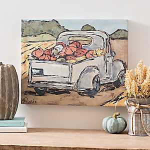 Vintage Pumpkin Truck Canvas Art Print
