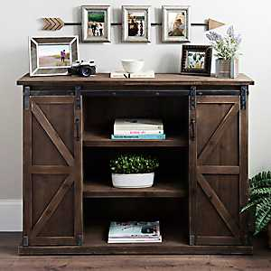 Brown Sliding Door Farmhouse Cabinet
