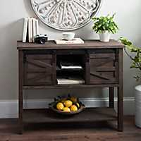 Farmhouse Sliding Barn Door Brown Console Table