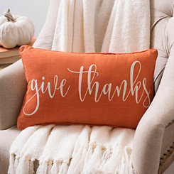 Orange Give Thanks Accent Pillow