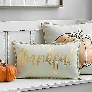 Metallic Gold Thankful Accent Pillow