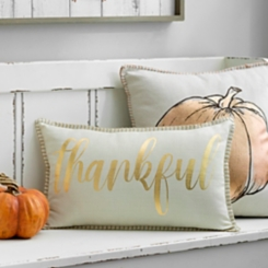 Metallic Gold Thankful Accent Pillow
