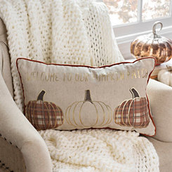 Gold Welcome To Our Pumpkin Patch Accent Pillow