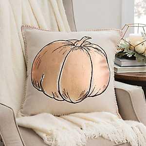 Metallic Copper Pumpkin Pillow