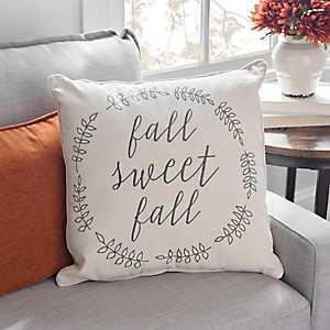 Fall Sweet Fall Striped Wreath Pillow