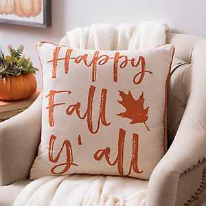 Happy Fall Y'all Leaf Pillow