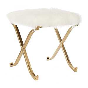 White Fur and Gold Legs Ottoman