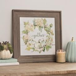 Green Floral Gather Wreath Framed Art Print
