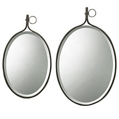 Beveled Oval Metal Frame Wall Mirrors, Set of 2