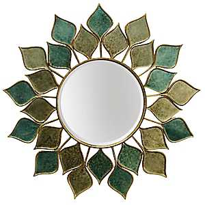 Round Green Petal Wall Mirror