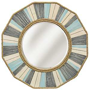 Painted Nautical Rope Wood Framed Wall Mirror