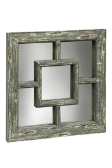 Weathered Wooden Square Wall Mirror