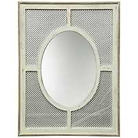 Wood and Metal Mesh Framed Wall Mirror