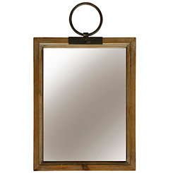 Natural Grove Farmhouse Metal and Wood Wall Mirror