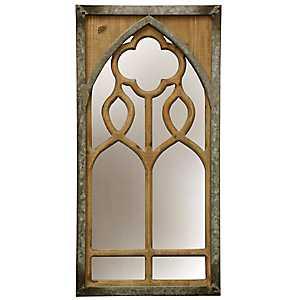 Window Panel Farmhouse Metal and Wood Wall Mirror