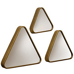 Gold Triangle Transitional Wall Mirrors, Set of 3