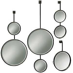 Droplet Metal Beveled Wall Mirrors, Set of 4
