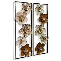 Metal Floral Wall Panels, Set of 2