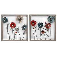 Framed Botanical Metal Wall Panels, Set of 2
