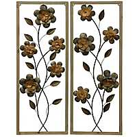 Twisting Stems Framed Metal Wall Panels, Set of 2