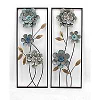 Gray and Blue Florals Metal Wall Panels, Set of 2