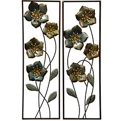 High Gloss Florals Metal Wall Panels, Set of 2