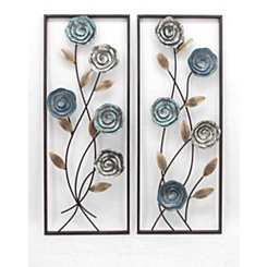 Blue Rose Metal Wall Panels, Set of 2