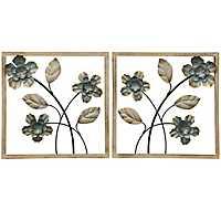 Wood Framed Floral Wall Panels, Set of 2