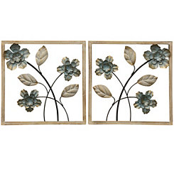 Wood Framed Floral Wall Panels, Set of 2