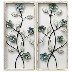 Whitewashed Wood Framed Floral Panels, Set of 2